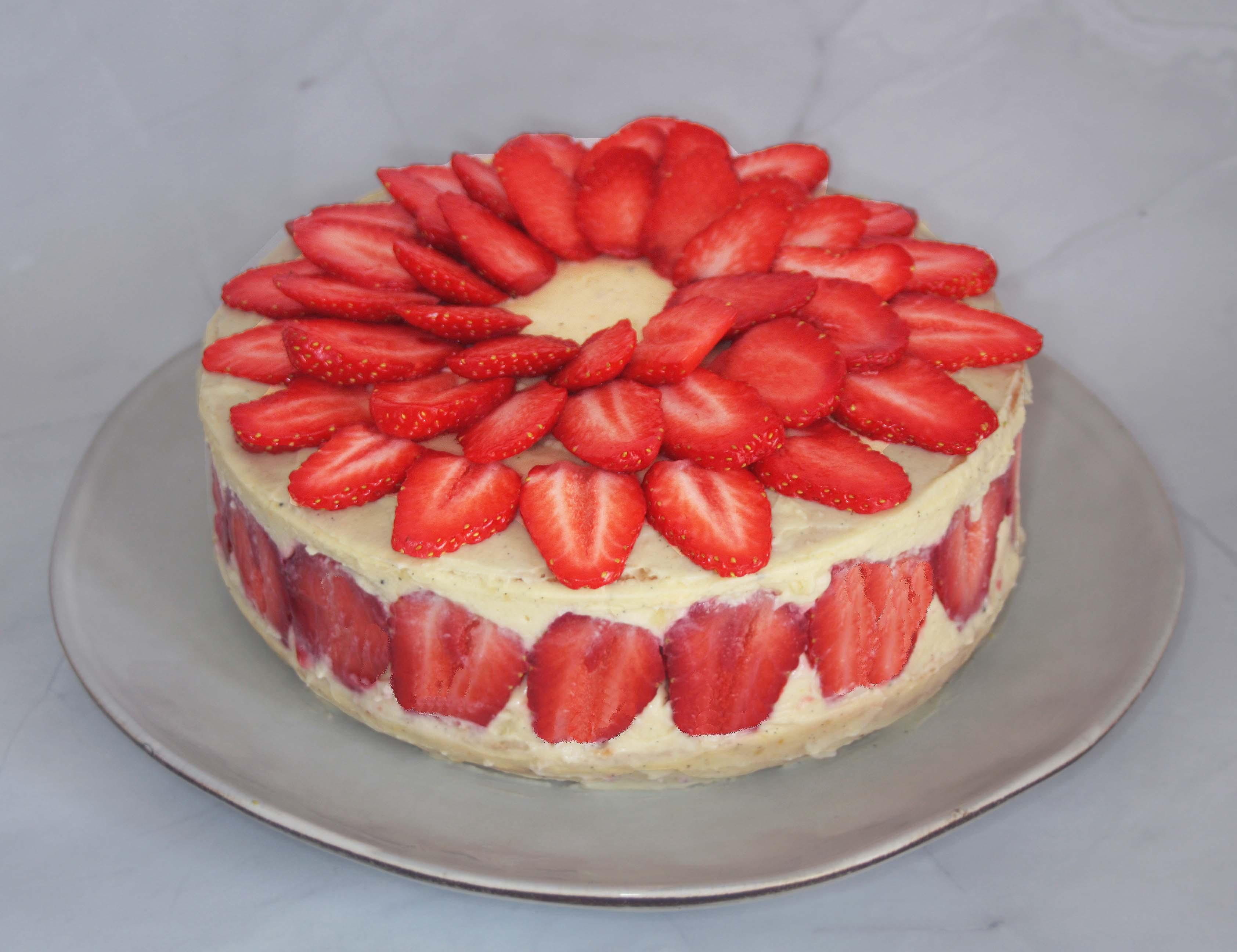 Le fraisier classique avec crème diplomate